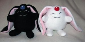 Black and White Mokona Plushes by NocturnalEquine