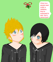 Roxas and Xion Mistlestoe by alyssaoz