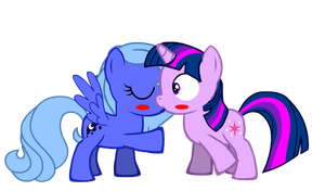 Princess Luna filly kiss Twilight Sparkle filly by BrisaFluttershy