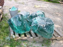 Green Melted Glass Rocks 7 by FairieGoodMother