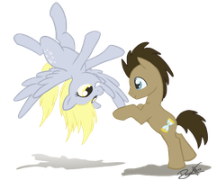 Derpy and Doctor Whooves by DawnAllies