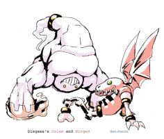 Disgaea Golem and Winged by dan-heron