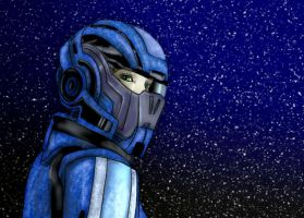 Mass Effect - Sphepard in space by Luckytrefle
