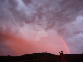Red clouds and rainbow by engineerJR