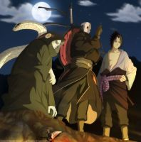 Madara, kabutorochi and sasuke by goldenhans