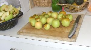Apple Pie raw apples on board by dtf-stock