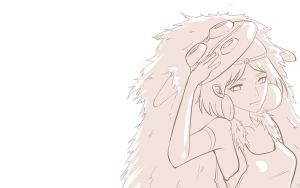 mononoke line art by uyuni