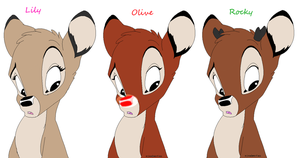 Clarice and Rudolph's fawns by gaamatsugirl565