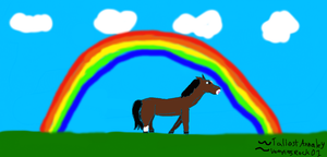 Rainbow and Horse by Annaley