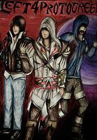 Left4ProtoCreed - Alex,Ezio and Hunter Poster by DeathsFugitive