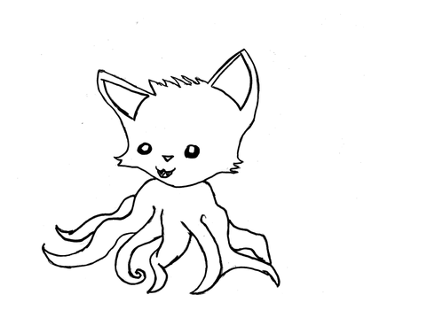 Tentacle Kitty Lineart by ZhaneAugustine