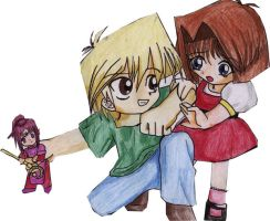 Chibi yugioh: Jou and Anzu by animagetali