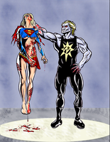 Supergirl Destroyed by the Nuclear Man by Corbis2