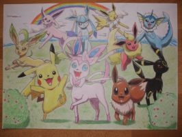 Eevee and his friends A2 by gabiman
