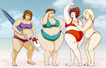 Commission: College Girls at the Beach by kastemel