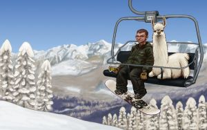 Leon snowboarding with a llama by AndreaGerstmann