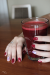 Claret hybrid with water transfer nail sticker by mmkrys
