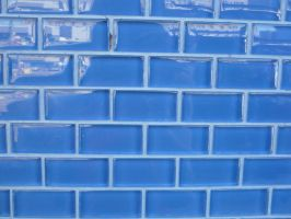 Blue Tile Wall by RosalineStock