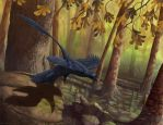 Microraptor Takeoff by EWilloughby