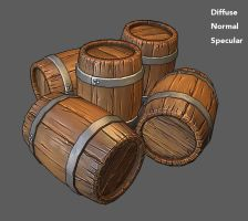 Stylized Wooden barrel for games by jronn-designs