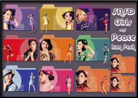SNSD Girls and Peace Folders ICO+PNGs by Rizzie23