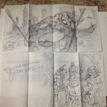 NYC Plane Table Napkin Superheroes by Speedsterrex
