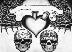 Skulls and a heart, In progres by SludgeBrain