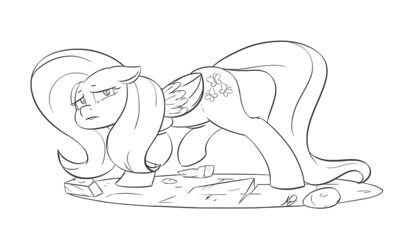 Fluttershy Diorama-BW by TenTinyThimbles