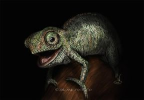 Baby West Usambara Two-horned Chameleon by NadilynBeato