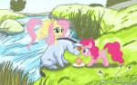 Eeyore meets Pinkie and Fluttershy (Commission) by LateCustomer