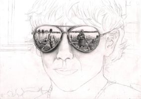 'Look into my Sunglasses' WIP 35% by Pen-Tacular-Artist
