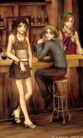Boy, Girl and Mr bartender by LanWu