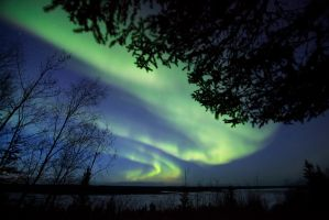 Early spring aurora over Slave River by Thomas-Koidhis