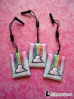 Rainbow Cloud Phone Charm by DragonBeak