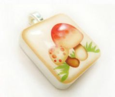 Vintage Mushrooms Pendant by luminarydreams
