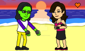 Bitstrips me and Ace on the beach! OMG by DarkRoseDiamond123