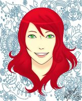 Red head with green eyes. by LishaMerican