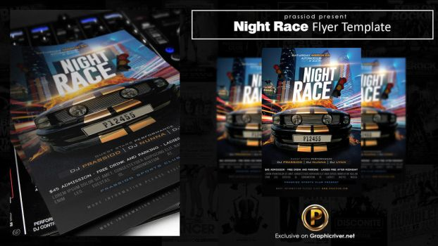 Night Race Flyer Template by prassetyo