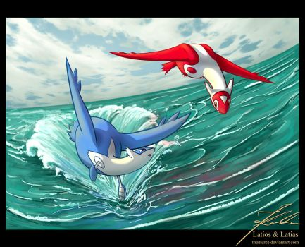 Latios and Latias by jkarlin
