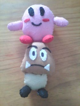Kirby and Goomba by mirageant