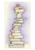 Bookstack with Teddy by mrana