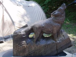 Wolf in progress 1 by woodcarve