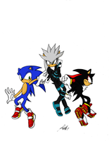 sliver shadow and sonic by zeldalegends4525