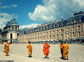 Monks in the Garden Of Versailles by bulentcalli