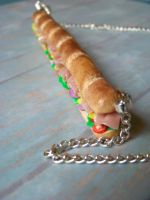 Giant sub sandwich necklace by kawaiibuddies