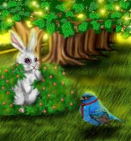 the rabbit and the bird by kittychiii