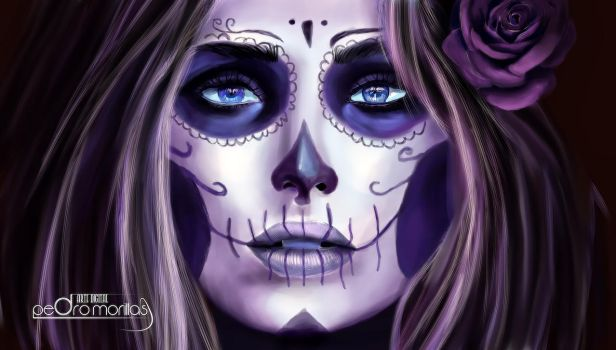 woman skull painting by pedromorillas