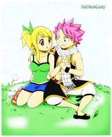 Natsu and Lucy by WolfMoon17