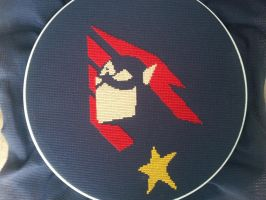 Finished Captain America Cross-stitch by CraftingGeek