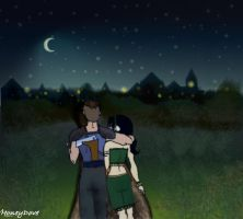 Moonlit Stroll, Sokka and Toph by HoneyDove